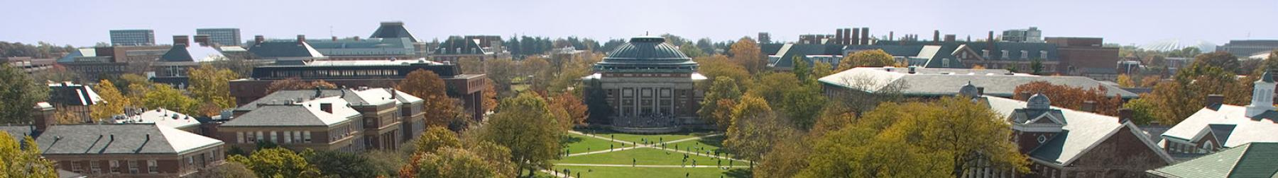Birds-eye view of a fall afternoon on the Main Quad
