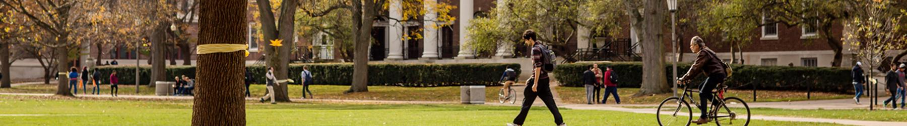 Students pass through the Main Quad amidst falling autumn leaves.