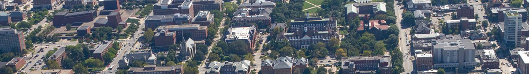 Aerial of North campus looking north to south including the Beckman Institute and the Bardeen Quadrangle