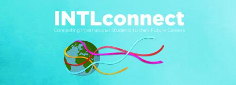 """Banner that says """"INTLconnect: Connecting International Students to their Future Careers"""" with a picture of earth wrapped with colored string below"""