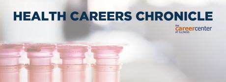 A tray of vials appear with the Health Careers Chronicle banner at the top